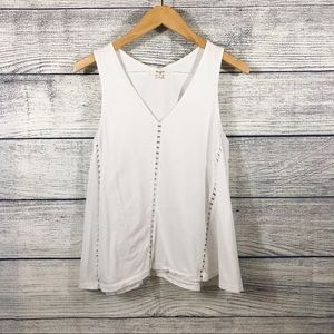 Madewell White eyelet inset V neck tank top small